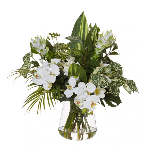 Exotic Orchid Mix White in Tub Vase