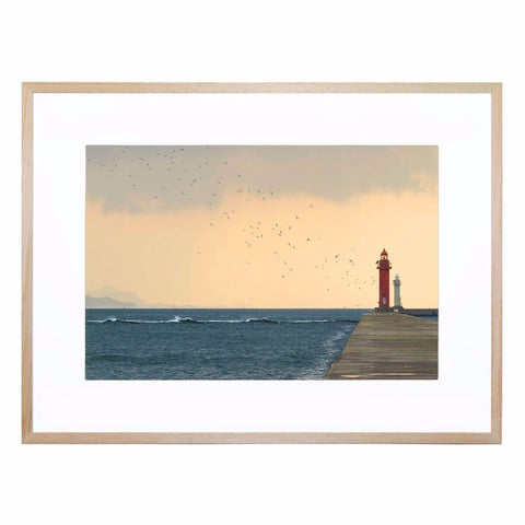Red and White Framed Giclee Print