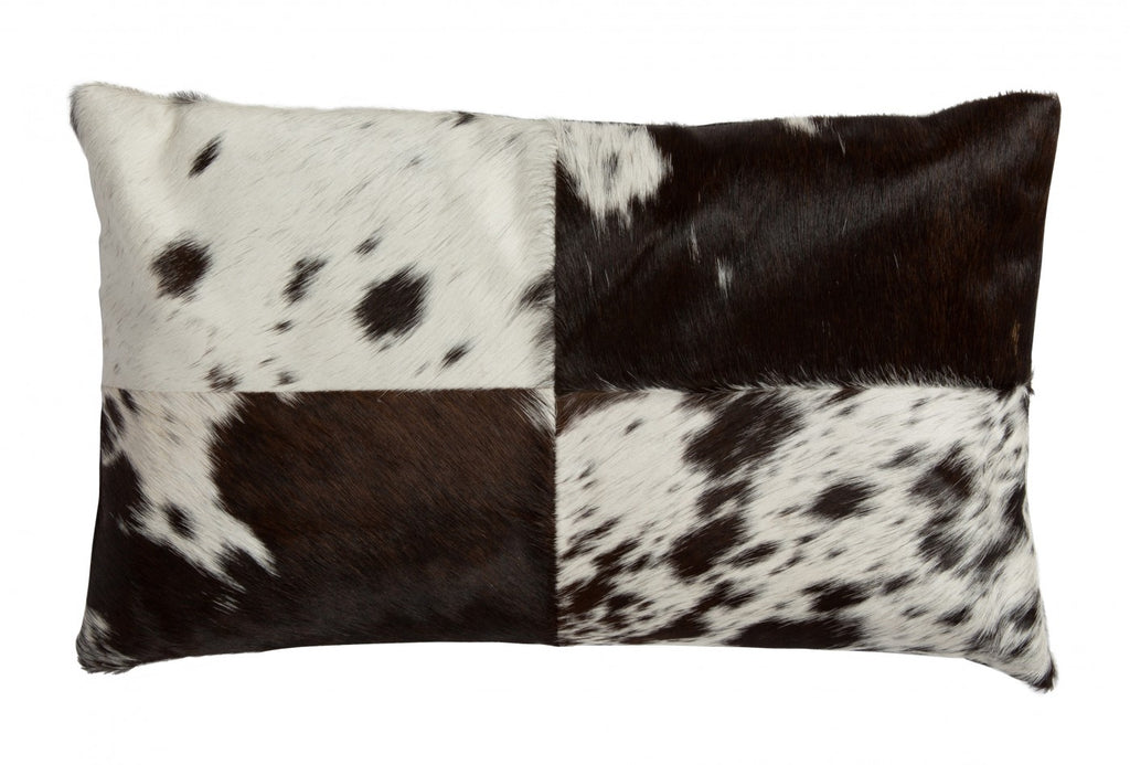 Cow Hide Rectangular Cushion Black/White