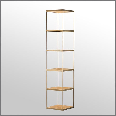 Atticus Shelving Unit Distressed Gold