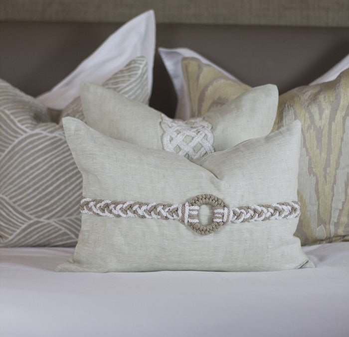 Diamond Scroll Linen Cushion