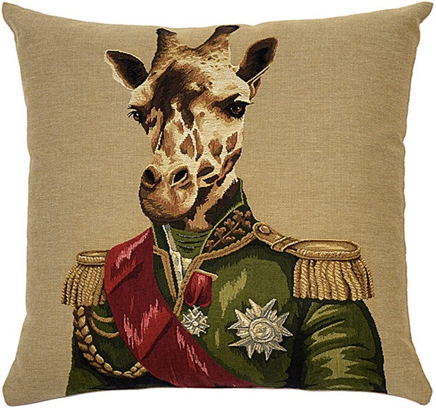 Uniformed Zoo Animals Cushion, Giraffe