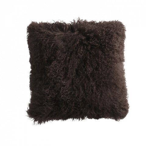 Brown Mongolian Fur Cushion Small