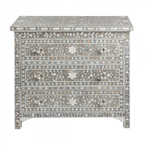 Jamelia Mother of Pearl Inlay 3 Drawer Chest Floral Grey