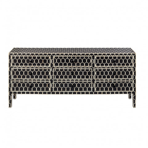 Shalimar Mother of Pearl Inlay 7 Drawer Chest Floral Grey