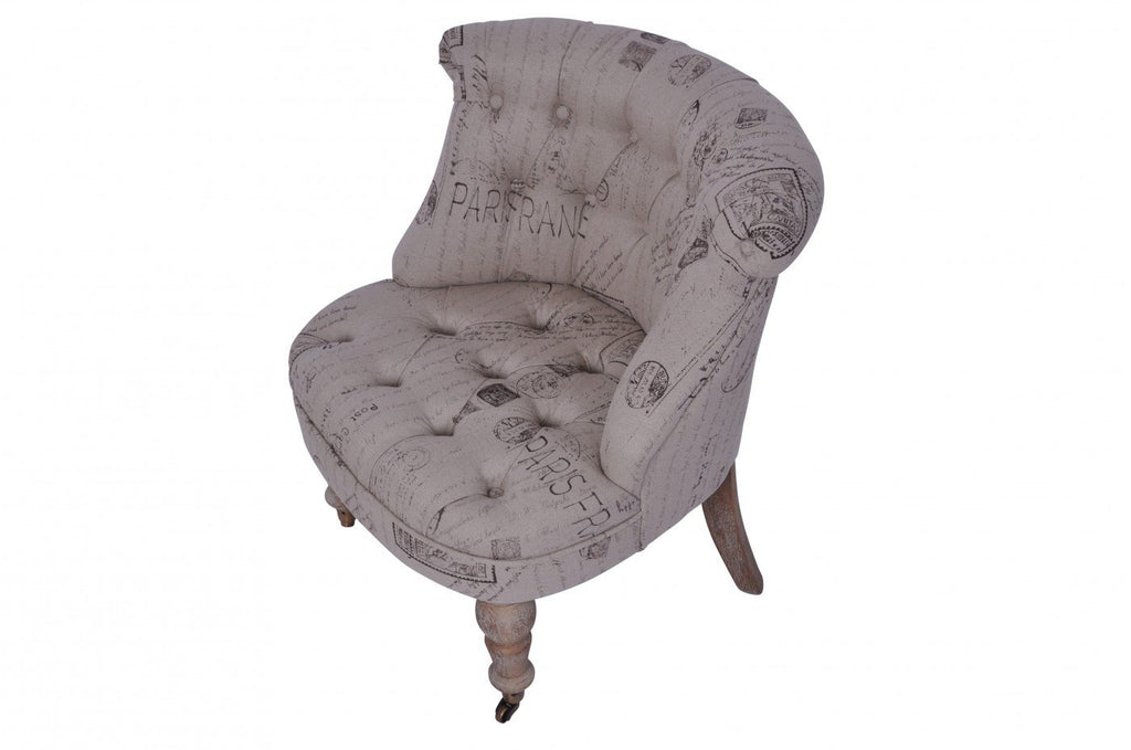 Tufted Oak Slipper Chair