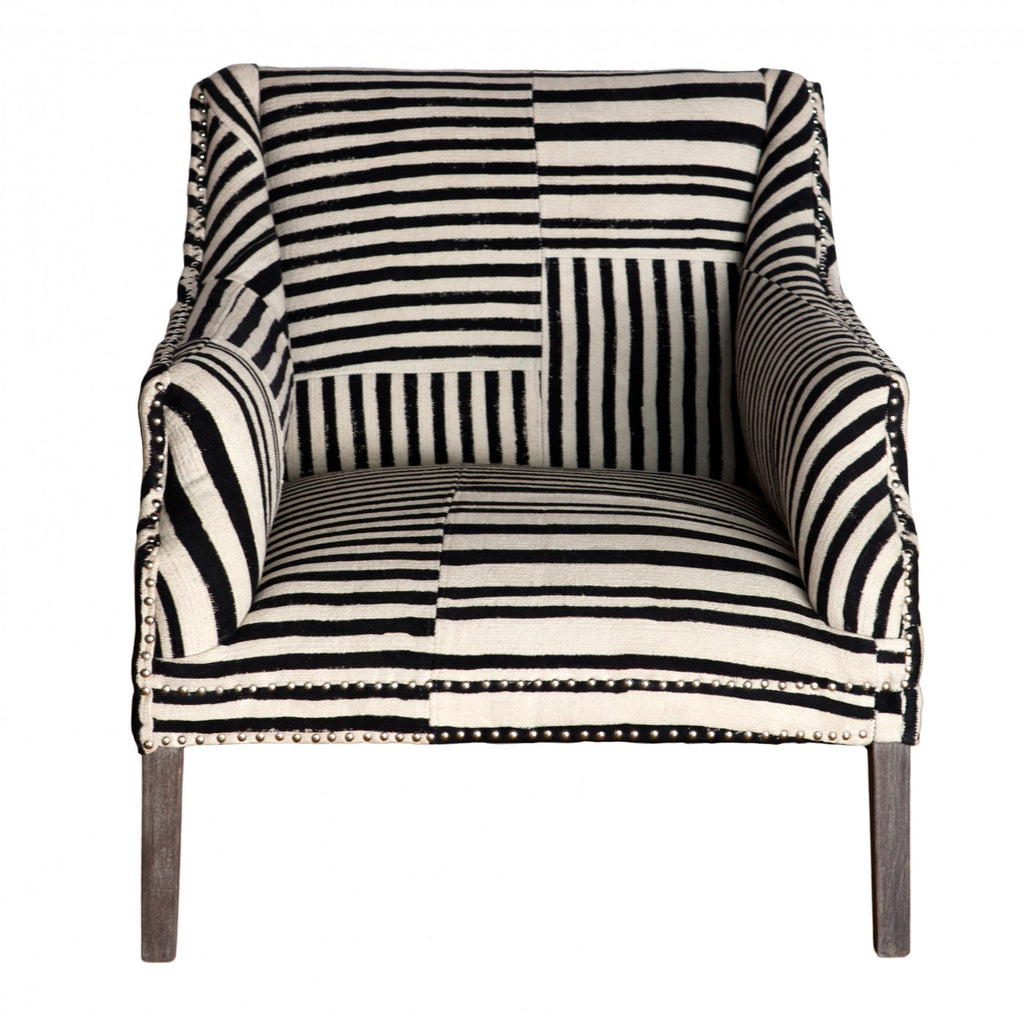 Bombay Studded Armchair Black and White