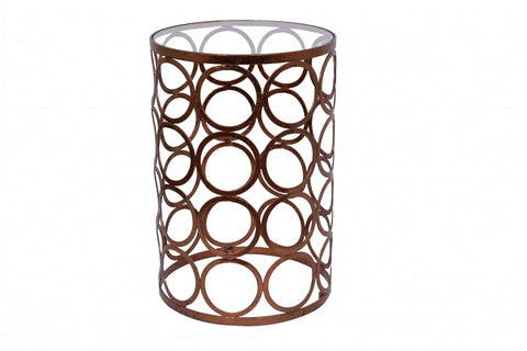 Circles Lamp Table Copper Leaf