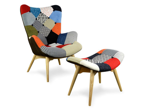 Replica Contour Chair/Ottoman Patchwork
