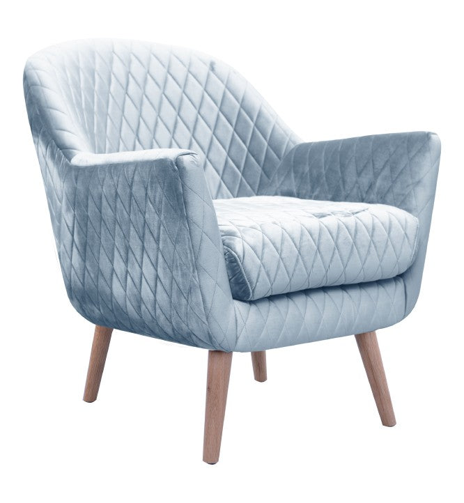 Club Chair Blue Grey with Oak Legs