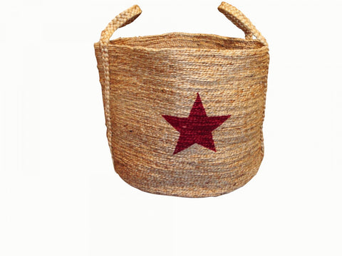Jute Basket Red Star