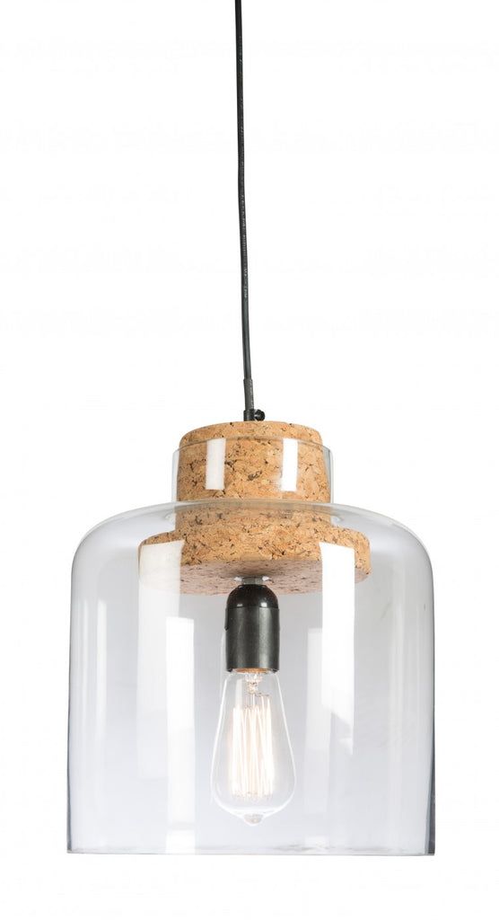 Glass and Cork Pendant Cloche