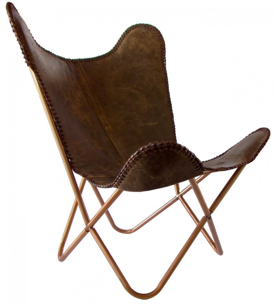 Butterfly Chair Dark Brown Crackle Leather-Brown Stitching