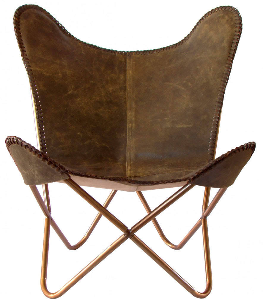 butterfly chair dark brown crackle leather brown stitching. Black Bedroom Furniture Sets. Home Design Ideas