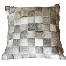 Patchwork Grey Cowhide Cushion Cover