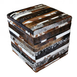 Striped Patchwork Cube Ottoman