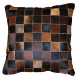 Patchwork Brown Cowhide Cushion Cover