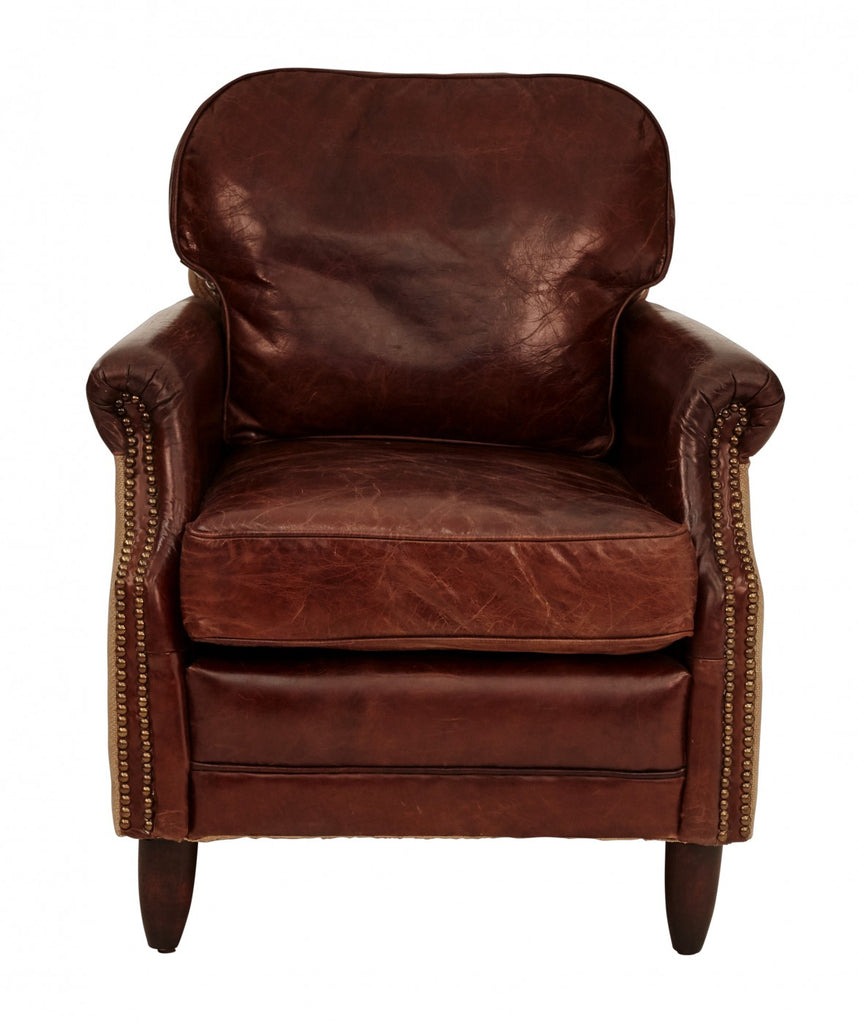Vintage Leather Decor Armchair with Burlap