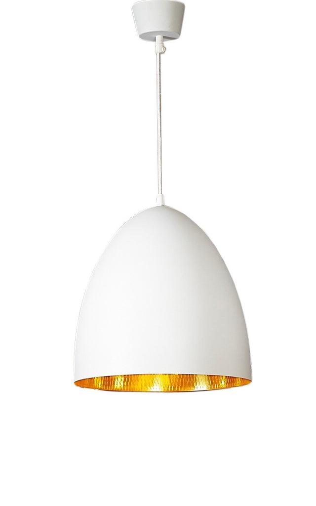 Egg White Pendant Beaten Brass