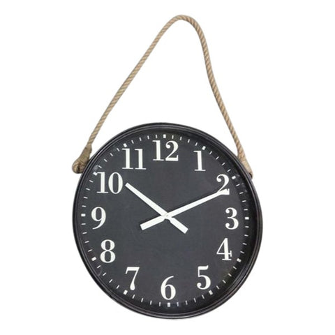Hanging Rope Clock with Black Face