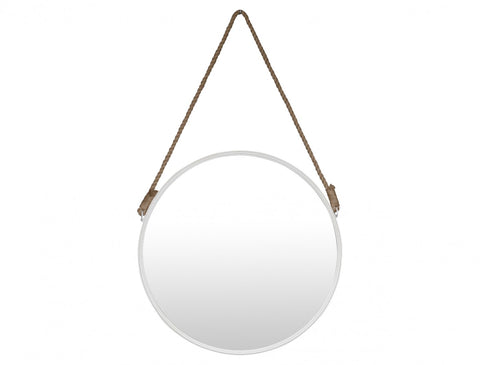 Cream Round Hanging Mirror with Rope