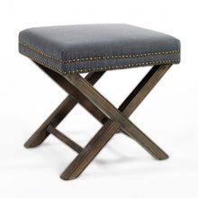 Studded Ottoman with X Legs Charcoal