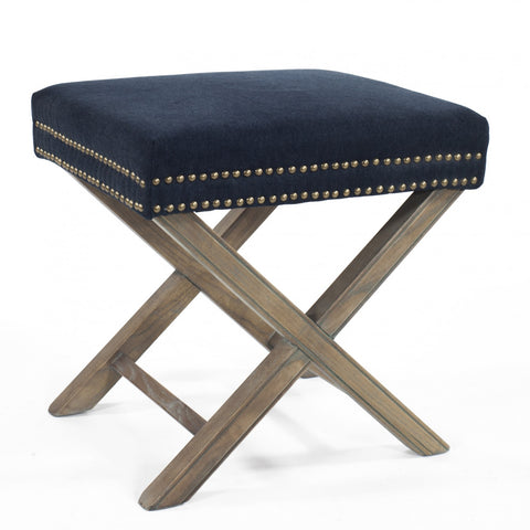 Studded Ottoman with X Legs Navy