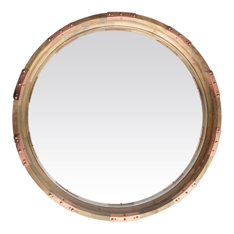 Round Wood and Copper Mirror
