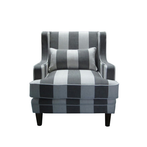 Shoreham Grey and Cream Wide Striped Armchair
