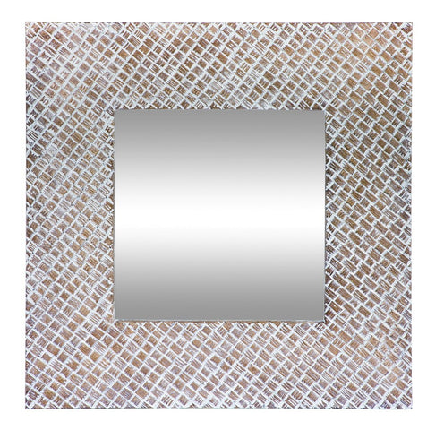 Clay and White Square Mirror