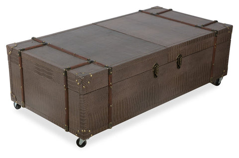 New York Coffee Table Trunk Faux Croc