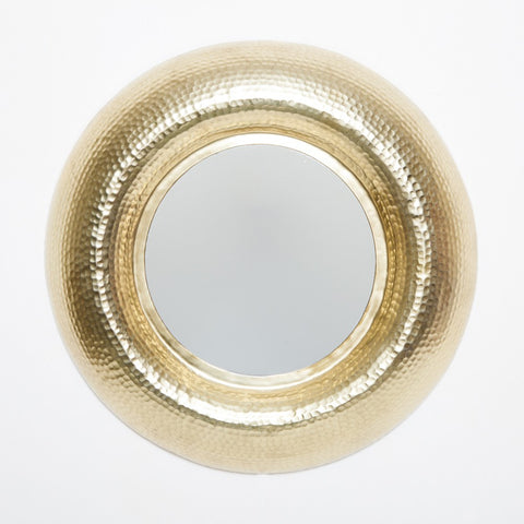 Hammered Round Mirror Gold