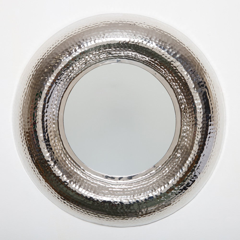 Hammered Round Mirror Nickel