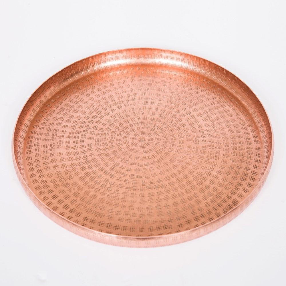 Round Antique Copper Trays Set/2