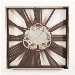 Wood and Nickel Gear Wall Clock Large