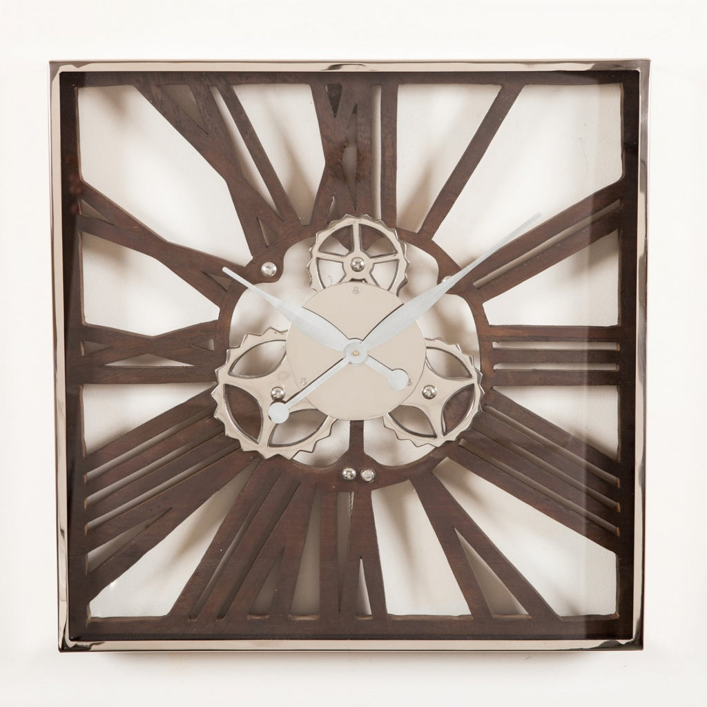Wood And Nickel Gear Wall Clock Small Interiors Online