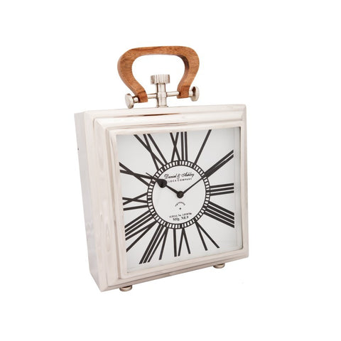 Table Clock with Wooden Handle Small