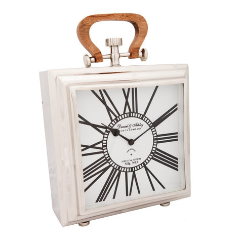 Table Clock with Wooden Handle Large