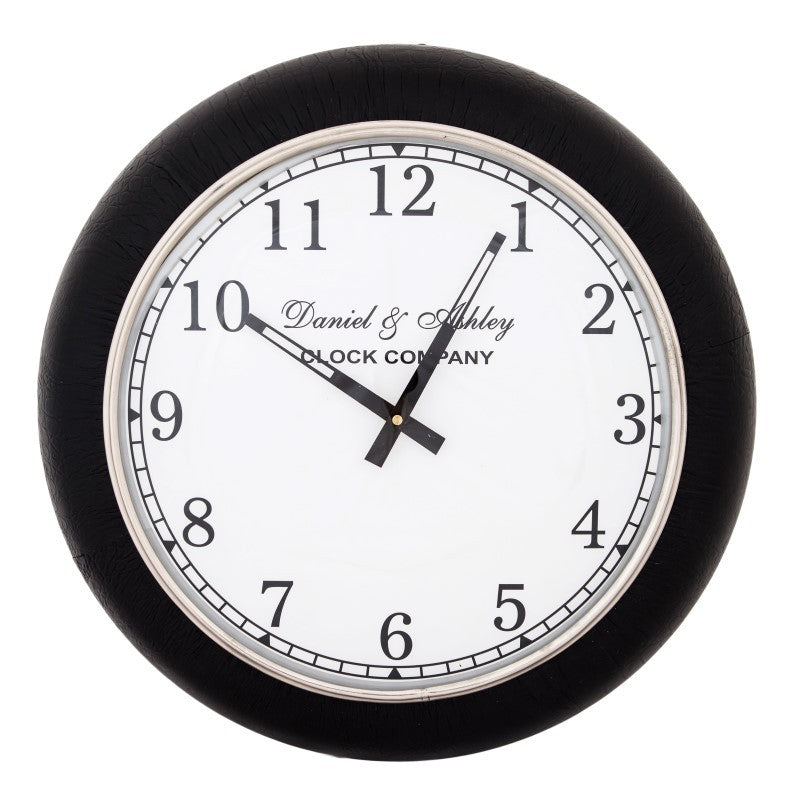 leather wall clock small interiors online. Black Bedroom Furniture Sets. Home Design Ideas