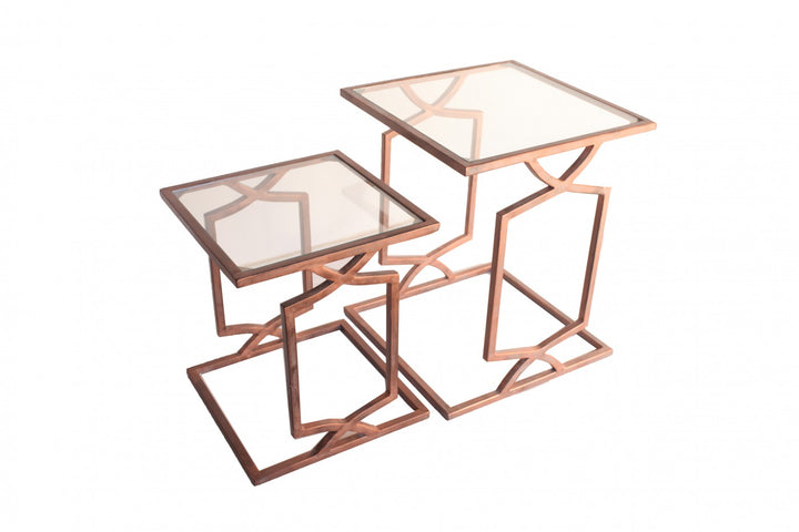 Greek Key Set/2 Side Tables Tarnished Copper