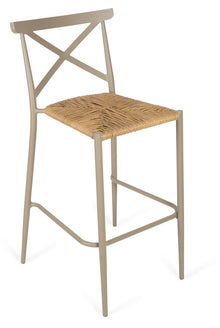 Indoor/Outdoor X-Back Bar Stool Taupe