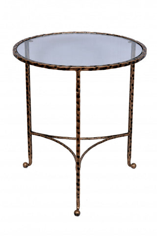 Hammered End Table Antique Gold