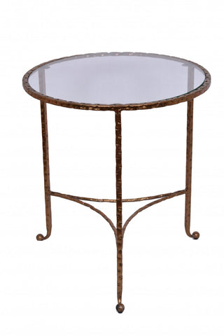 Hammered End Table Copper Leaf