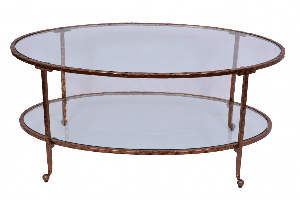 Hammered Oval Coffee Table Copper Leaf
