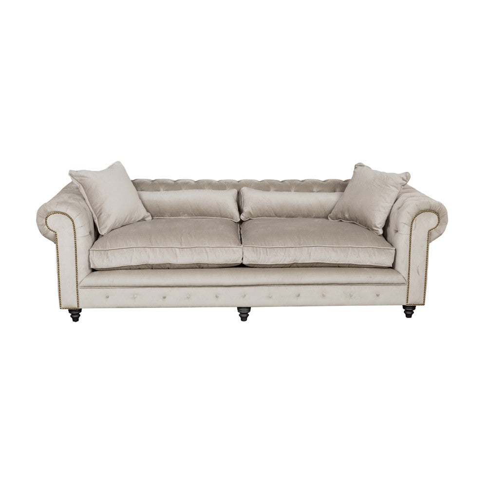 Kensington Chesterfield Grey Velvet Sofa 3 Seater