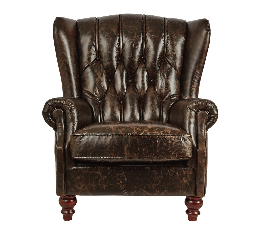 Vintage Leather Chesterfield Club Chair Espresso