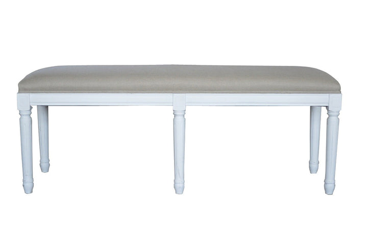 Bench Antique White with Linen