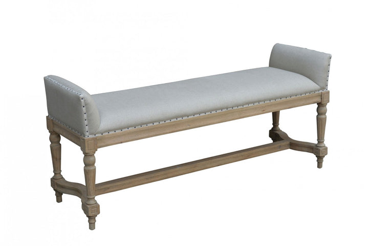 Weathered Oak/Linen Bench with Ends