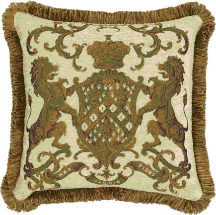 Heraldic Cushion with Trim Cream