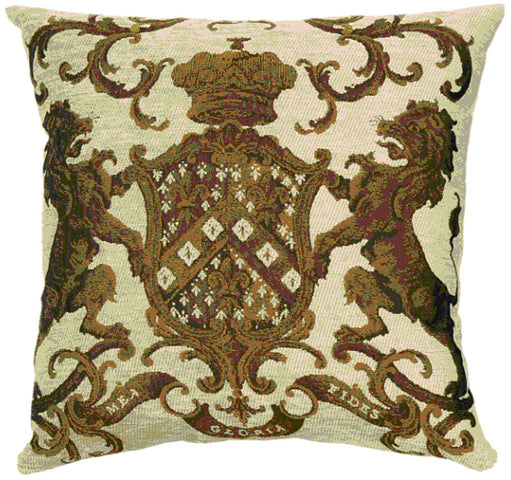 Heraldic Cushion Plain Cream